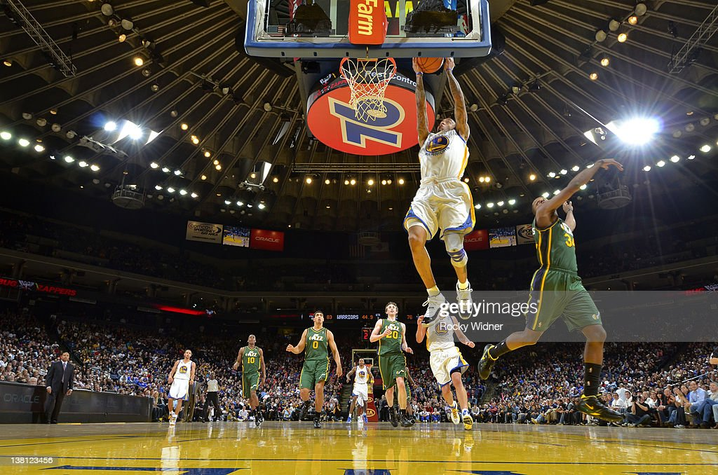 <a gi-track='captionPersonalityLinkClicked' href=/galleries/search?phrase=Monta+Ellis&family=editorial&specificpeople=567403 ng-click='$event.stopPropagation()'>Monta Ellis</a> #8 of the Golden State Warriors jumps for a dunk during a fast break against the Utah Jazz on February 2, 2012 at Oracle Arena in Oakland, California.