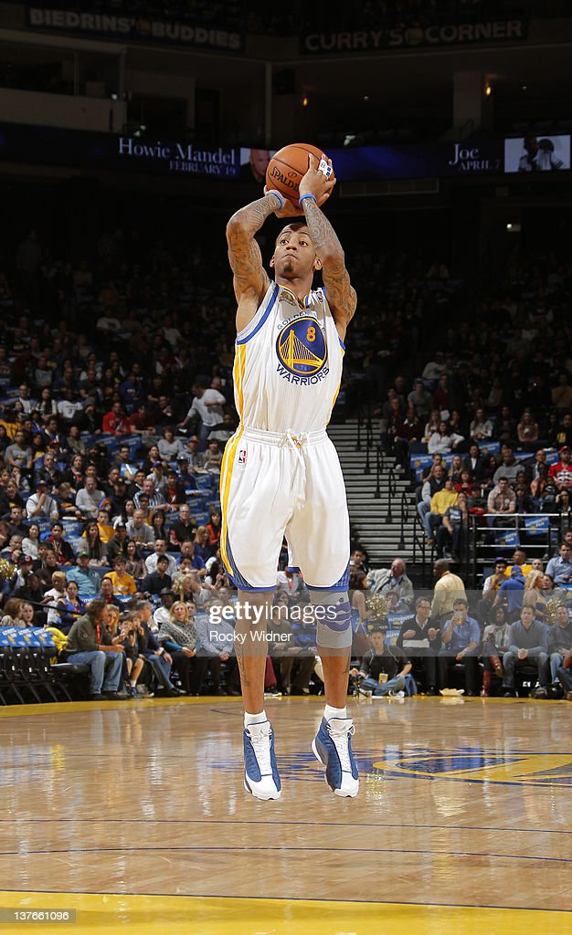<a gi-track='captionPersonalityLinkClicked' href=/galleries/search?phrase=Monta+Ellis&family=editorial&specificpeople=567403 ng-click='$event.stopPropagation()'>Monta Ellis</a> #8 of the Golden State Warriors pulls up for a jump shot on January 20, 2012 at Oracle Arena in Oakland, California.