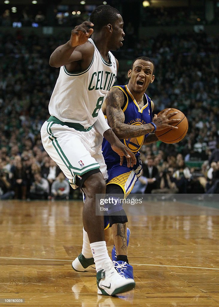 <a gi-track='captionPersonalityLinkClicked' href=/galleries/search?phrase=Monta+Ellis&family=editorial&specificpeople=567403 ng-click='$event.stopPropagation()'>Monta Ellis</a> #8 of the Golden State Warriors tries to get around Jeff Green #8 of the Boston Celtics on March 4, 2011 at the TD Garden in Boston, Massachusetts. The Celtics defeated the Warriors 107-103.