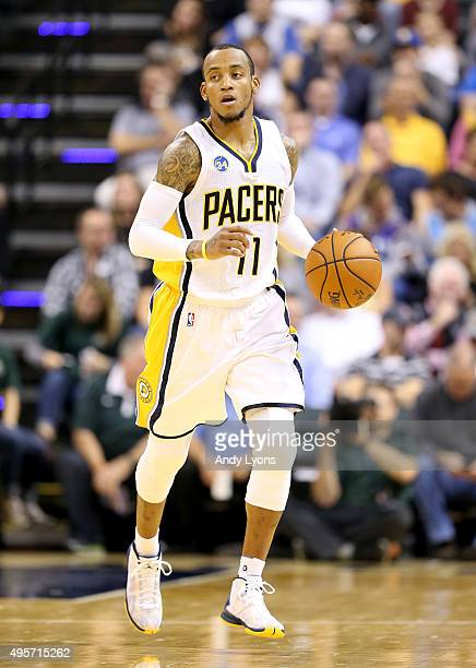 Monta Ellis of the Indiana Pacers dribbles the ball during the game against the Boston Celtics at Bankers Life Fieldhouse on November 4 2015 in...