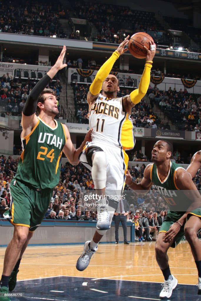 Monta Ellis #11 of the Indiana Pacers goes to the basket against the Utah Jazz on March 20, 2017 at Bankers Life Fieldhouse in Indianapolis, Indiana.