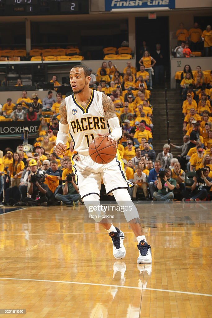 <a gi-track='captionPersonalityLinkClicked' href=/galleries/search?phrase=Monta+Ellis&family=editorial&specificpeople=567403 ng-click='$event.stopPropagation()'>Monta Ellis</a> #11 of the Indiana Pacers handles the ball against the Toronto Raptors in Game Six of the Eastern Conference Quarterfinals during the 2016 NBA Playoffs on April 29, 2016 at Bankers Life Fieldhouse in Indianapolis, Indiana.