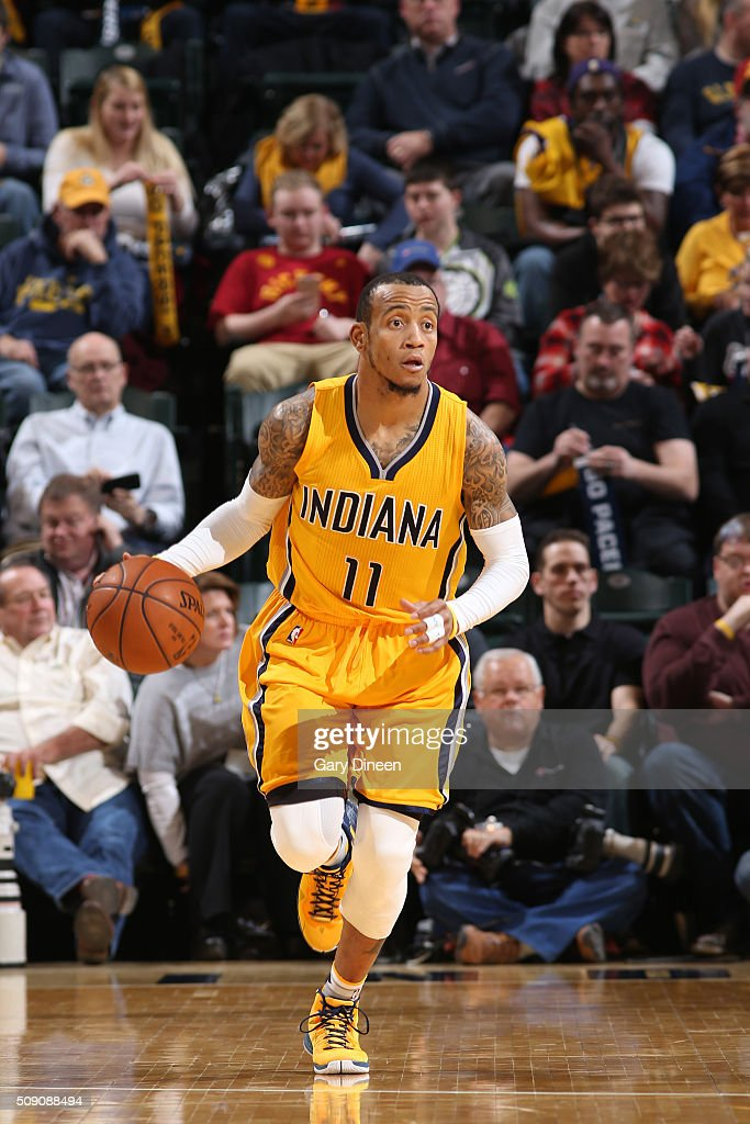 <a gi-track='captionPersonalityLinkClicked' href=/galleries/search?phrase=Monta+Ellis&family=editorial&specificpeople=567403 ng-click='$event.stopPropagation()'>Monta Ellis</a> #11 of the Indiana Pacers handles the ball against the Los Angeles Lakerson February 8, 2016 at Bankers Life Fieldhouse in Indianapolis, Indiana.