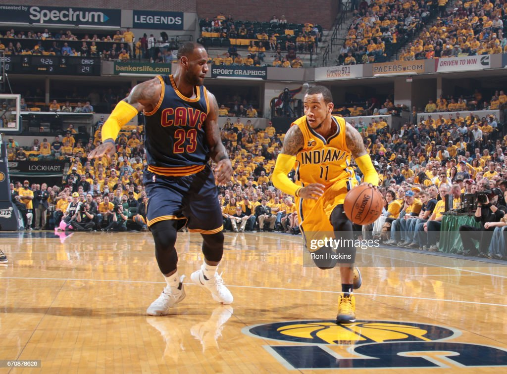Monta Ellis #11 of the Indiana Pacers handles the ball against the Cleveland Cavaliers during Game Three of the Eastern Conference Quarterfinals of the 2017 NBA Playoffs on April 20, 2017 at Bankers Life Fieldhouse in Indianapolis, Indiana.
