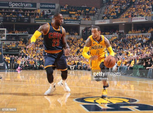 Monta Ellis of the Indiana Pacers handles the ball against the Cleveland Cavaliers during Game Three of the Eastern Conference Quarterfinals of the...