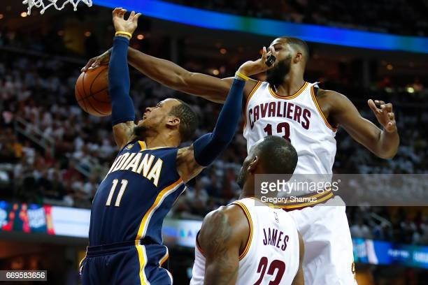 Monta Ellis of the Indiana Pacers has his shot blocked by Tristan Thompson of the Cleveland Cavaliers during the first half in Game Two of the...