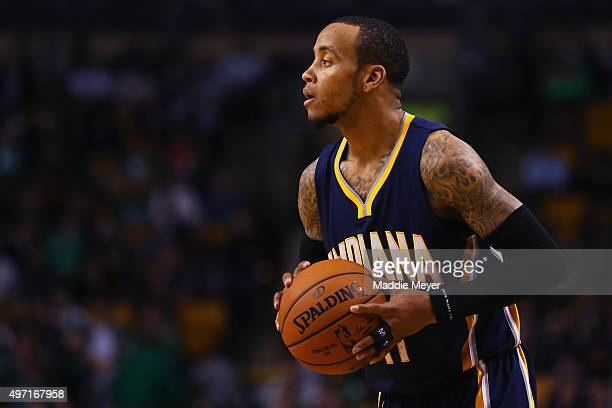 Monta Ellis of the Indiana Pacers looks for a pass during the game against the Boston Celtics at TD Garden on November 11 2015 in Boston...