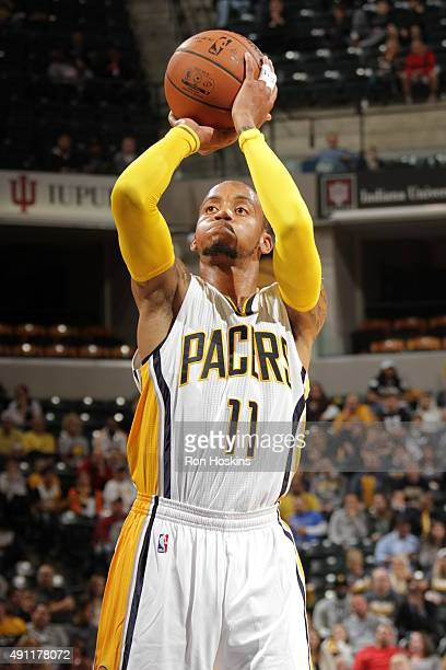 Monta Ellis of the Indiana Pacers shoots a free throw against the New Orleans Pelicans during a preseason game on October 3 2015 at Bankers Life...