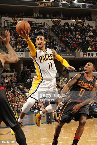 Monta Ellis of the Indiana Pacers shoots the ball against the Atlanta Hawks on January 28 2016 at Bankers Life Fieldhouse in Indianapolis Indiana...