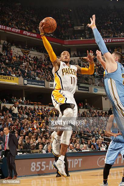 Monta Ellis of the Indiana Pacers shoots the ball against the Denver Nuggets on January 30 2016 at Bankers Life Fieldhouse in Indianapolis Indiana...
