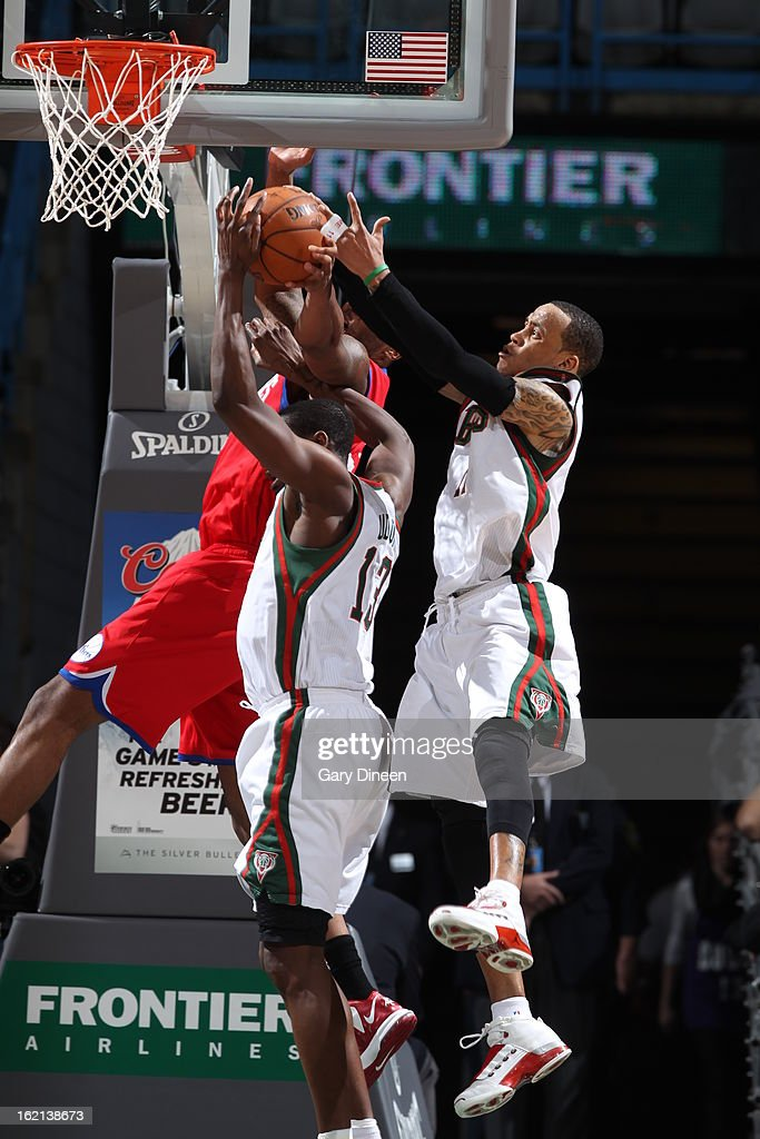<a gi-track='captionPersonalityLinkClicked' href=/galleries/search?phrase=Monta+Ellis&family=editorial&specificpeople=567403 ng-click='$event.stopPropagation()'>Monta Ellis</a> #11 of the Milwaukee Bucks attempts to grabs the rebound against the Philadelphia 76ers on February 13, 2013 at the BMO Harris Bradley Center in Milwaukee, Wisconsin.