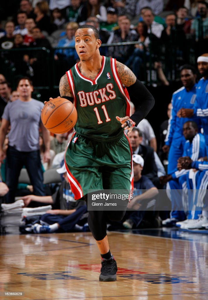 <a gi-track='captionPersonalityLinkClicked' href=/galleries/search?phrase=Monta+Ellis&family=editorial&specificpeople=567403 ng-click='$event.stopPropagation()'>Monta Ellis</a> #11 of the Milwaukee Bucks brings the ball up court against the Dallas Mavericks on February 26, 2013 at the American Airlines Center in Dallas, Texas.