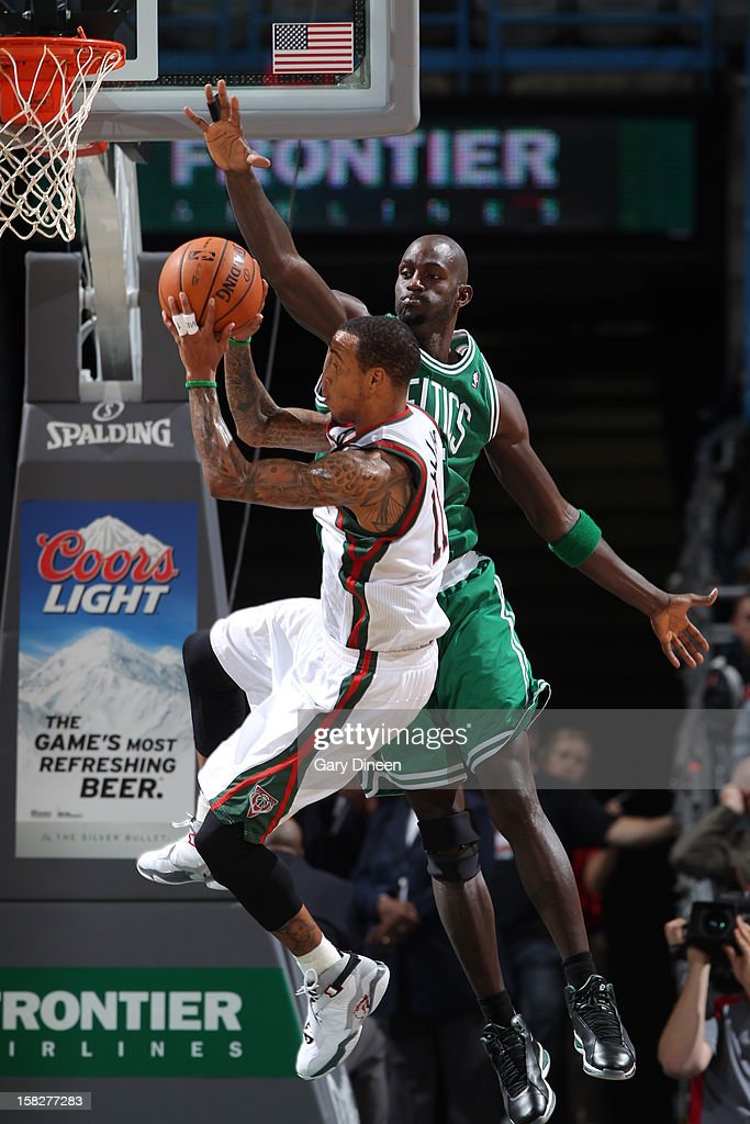 Monta Ellis #11 of the Milwaukee Bucks drives to the basket against Kevin Garnett #5 of the Boston Celtics on November 10, 2012 at the BMO Harris Bradley Center in Milwaukee, Wisconsin.