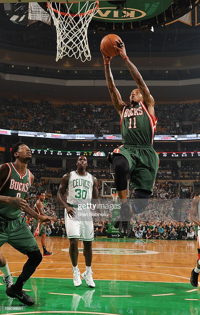 Monta Ellis #11 of the Milwaukee Bucks drives to the basket against the Boston Celtics on November 2, 2012 at the TD Garden in Boston, Massachusetts.