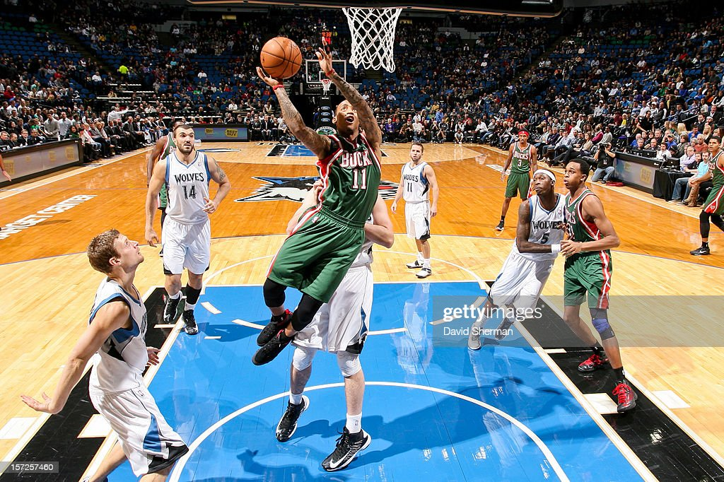 Monta Ellis #11 of the Milwaukee Bucks drives to the basket against the Minnesota Timberwolves on November 30, 2012 at Target Center in Minneapolis, Minnesota.