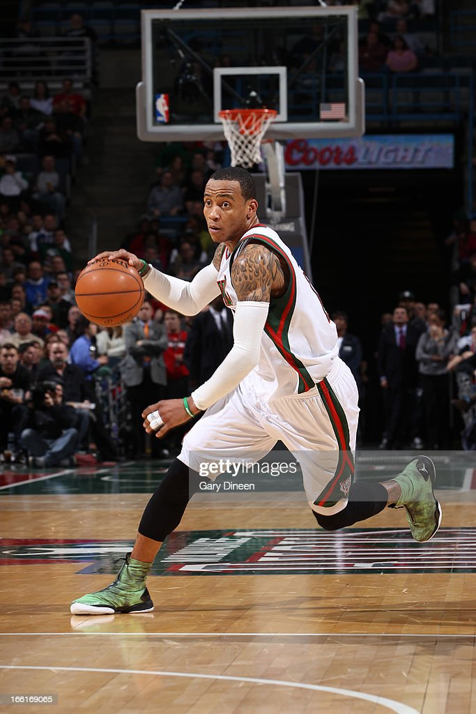 <a gi-track='captionPersonalityLinkClicked' href=/galleries/search?phrase=Monta+Ellis&family=editorial&specificpeople=567403 ng-click='$event.stopPropagation()'>Monta Ellis</a> #11 of the Milwaukee Bucks drives to the basket against the Utah Jazz on March 4, 2013 at the BMO Harris Bradley Center in Milwaukee, Wisconsin.