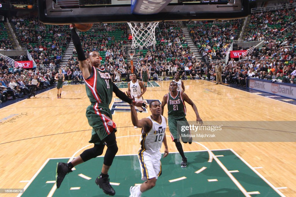 <a gi-track='captionPersonalityLinkClicked' href=/galleries/search?phrase=Monta+Ellis&family=editorial&specificpeople=567403 ng-click='$event.stopPropagation()'>Monta Ellis</a> #11 of the Milwaukee Bucks dunks against <a gi-track='captionPersonalityLinkClicked' href=/galleries/search?phrase=Alec+Burks&family=editorial&specificpeople=6834208 ng-click='$event.stopPropagation()'>Alec Burks</a> #10 of the Utah Jazz at Energy Solutions Arena on February 06, 2013 in Salt Lake City, Utah.