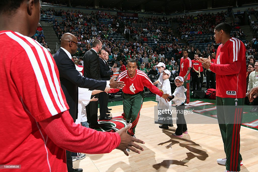 Monta Ellis #11 of the Milwaukee Bucks gets introduced before the game against the Boston Celtics on December 1, 2012 at the BMO Harris Bradley Center in Milwaukee, Wisconsin.