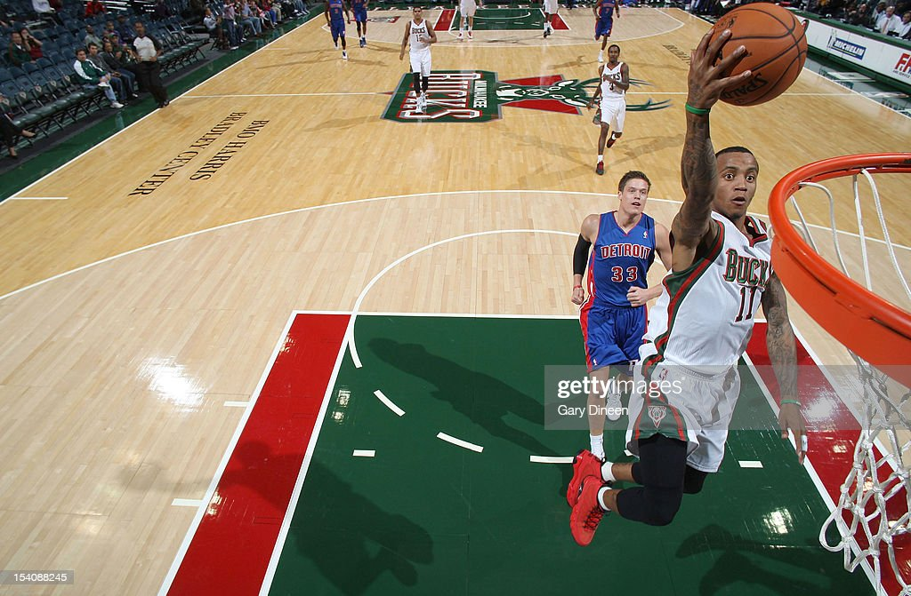 <a gi-track='captionPersonalityLinkClicked' href=/galleries/search?phrase=Monta+Ellis&family=editorial&specificpeople=567403 ng-click='$event.stopPropagation()'>Monta Ellis</a> #11 of the Milwaukee Bucks goes to the basket against the Detroit Pistons during the NBA preseason game on October 13, 2012 at the BMO Harris Bradley Center in Milwaukee, Wisconsin.