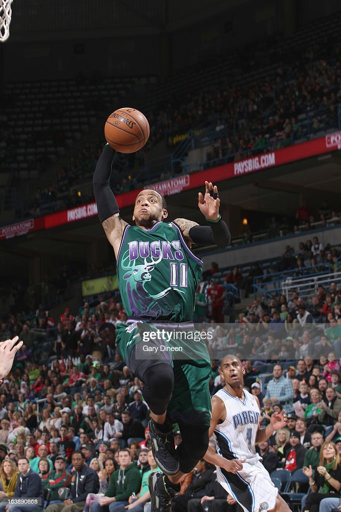<a gi-track='captionPersonalityLinkClicked' href=/galleries/search?phrase=Monta+Ellis&family=editorial&specificpeople=567403 ng-click='$event.stopPropagation()'>Monta Ellis</a> #11 of the Milwaukee Bucks goes to the basket against the Orlando Magic on March 17, 2013 at the BMO Harris Bradley Center in Milwaukee, Wisconsin.