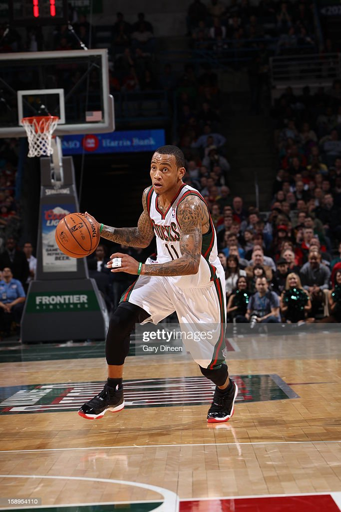 <a gi-track='captionPersonalityLinkClicked' href=/galleries/search?phrase=Monta+Ellis&family=editorial&specificpeople=567403 ng-click='$event.stopPropagation()'>Monta Ellis</a> #11 of the Milwaukee Bucks handles the ball against the Miami Heat on December 29, 2012 at the BMO Harris Bradley Center in Milwaukee, Wisconsin.