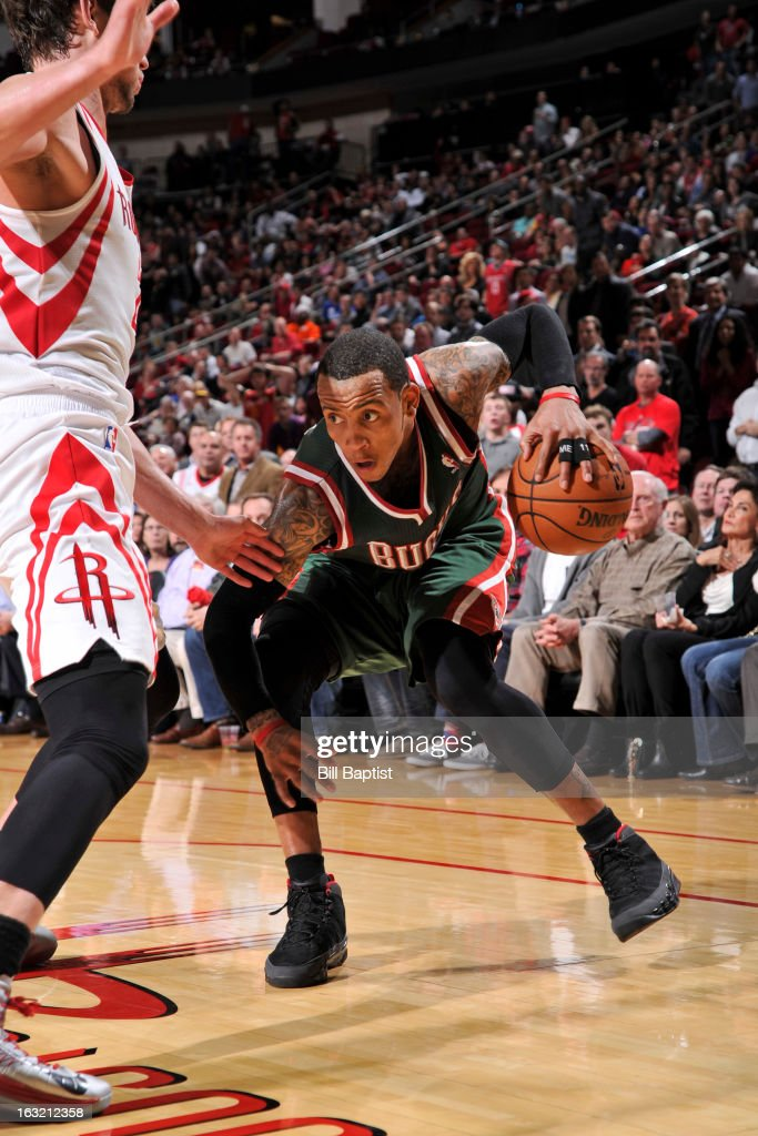 <a gi-track='captionPersonalityLinkClicked' href=/galleries/search?phrase=Monta+Ellis&family=editorial&specificpeople=567403 ng-click='$event.stopPropagation()'>Monta Ellis</a> #11 of the Milwaukee Bucks looks to drive to the basket against the Houston Rockets on February 27, 2013 at the Toyota Center in Houston, Texas.