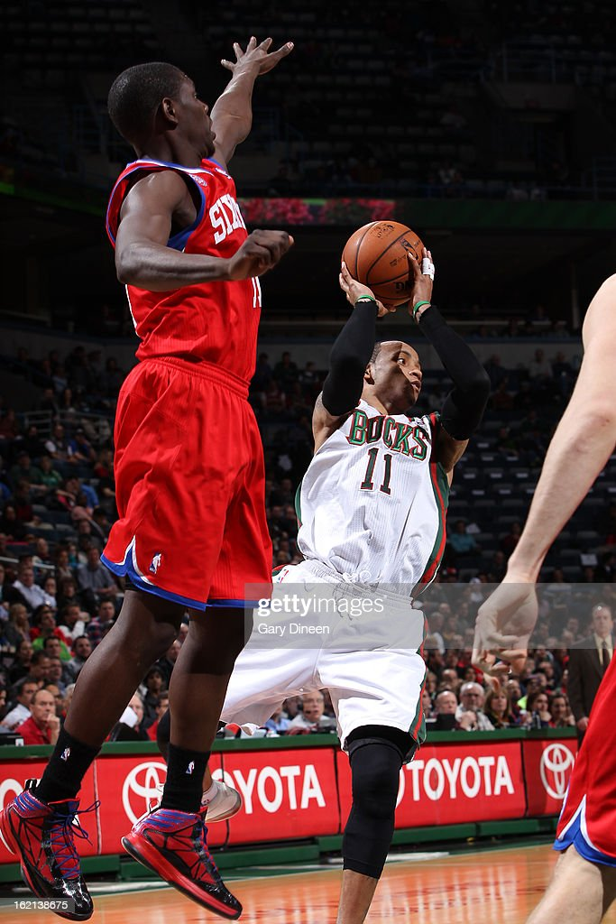 <a gi-track='captionPersonalityLinkClicked' href=/galleries/search?phrase=Monta+Ellis&family=editorial&specificpeople=567403 ng-click='$event.stopPropagation()'>Monta Ellis</a> #11 of the Milwaukee Bucks looks to make a pass against the Philadelphia 76ers on February 13, 2013 at the BMO Harris Bradley Center in Milwaukee, Wisconsin.