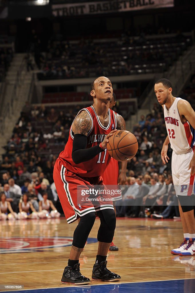 <a gi-track='captionPersonalityLinkClicked' href=/galleries/search?phrase=Monta+Ellis&family=editorial&specificpeople=567403 ng-click='$event.stopPropagation()'>Monta Ellis</a> #11 of the Milwaukee Bucks shoots a foul shot against the Detroit Pistons during the game on January 29, 2013 at The Palace of Auburn Hills in Auburn Hills, Michigan.