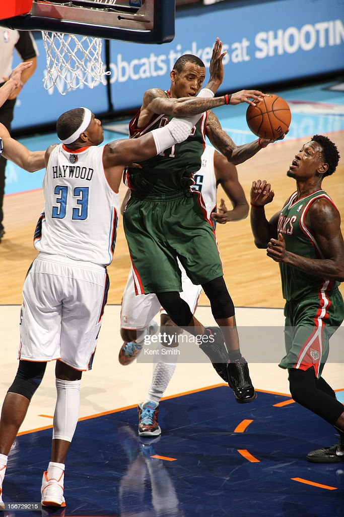 <a gi-track='captionPersonalityLinkClicked' href=/galleries/search?phrase=Monta+Ellis&family=editorial&specificpeople=567403 ng-click='$event.stopPropagation()'>Monta Ellis</a> #11 of the Milwaukee Bucks shoots against <a gi-track='captionPersonalityLinkClicked' href=/galleries/search?phrase=Brendan+Haywood&family=editorial&specificpeople=202010 ng-click='$event.stopPropagation()'>Brendan Haywood</a> #33 of the Charlotte Bobcats at the Time Warner Cable Arena on November 19, 2012 in Charlotte, North Carolina.
