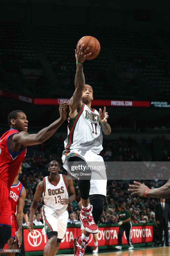 <a gi-track='captionPersonalityLinkClicked' href=/galleries/search?phrase=Monta+Ellis&family=editorial&specificpeople=567403 ng-click='$event.stopPropagation()'>Monta Ellis</a> #11 of the Milwaukee Bucks shoots against <a gi-track='captionPersonalityLinkClicked' href=/galleries/search?phrase=Lavoy+Allen&family=editorial&specificpeople=4628334 ng-click='$event.stopPropagation()'>Lavoy Allen</a> #50 of the Philadelphia 76ers on January 22, 2013 at the BMO Harris Bradley Center in Milwaukee, Wisconsin.