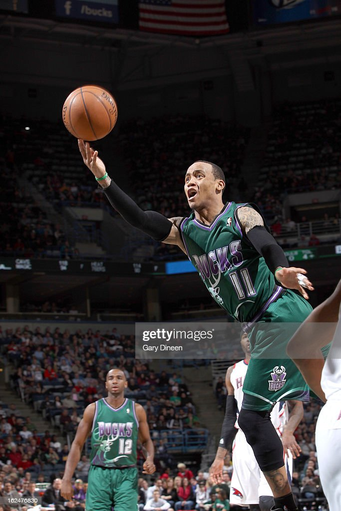 <a gi-track='captionPersonalityLinkClicked' href=/galleries/search?phrase=Monta+Ellis&family=editorial&specificpeople=567403 ng-click='$event.stopPropagation()'>Monta Ellis</a> #11 of the Milwaukee Bucks shoots against the Atlanta Hawks on February 23, 2013 at the BMO Harris Bradley Center in Milwaukee, Wisconsin.