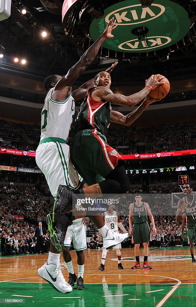 Monta Ellis #11 of the Milwaukee Bucks shoots against the Boston Celtics on November 2, 2012 at the TD Garden in Boston, Massachusetts.