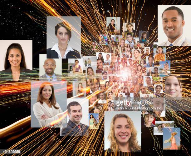 Montage of business people's faces and beams of light
