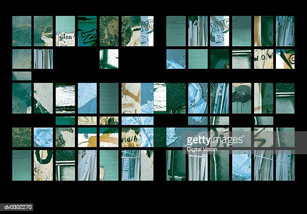 Montage of Delapidated Walls in New York