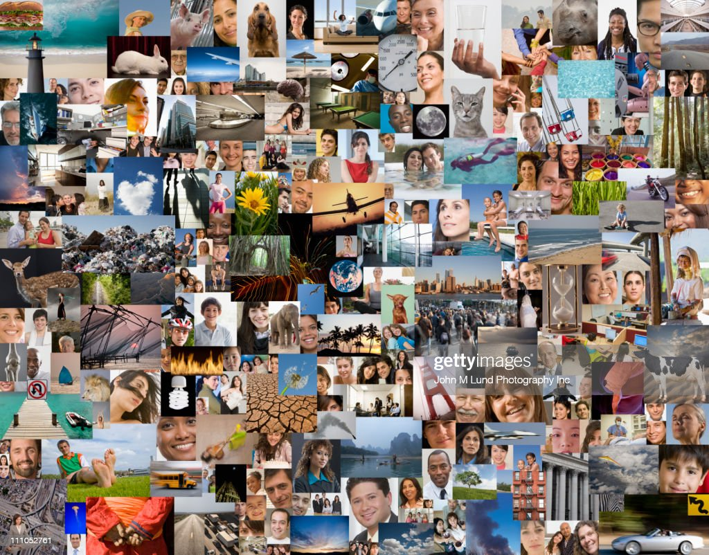 montage of diverse people places and things stock photo getty images. Black Bedroom Furniture Sets. Home Design Ideas