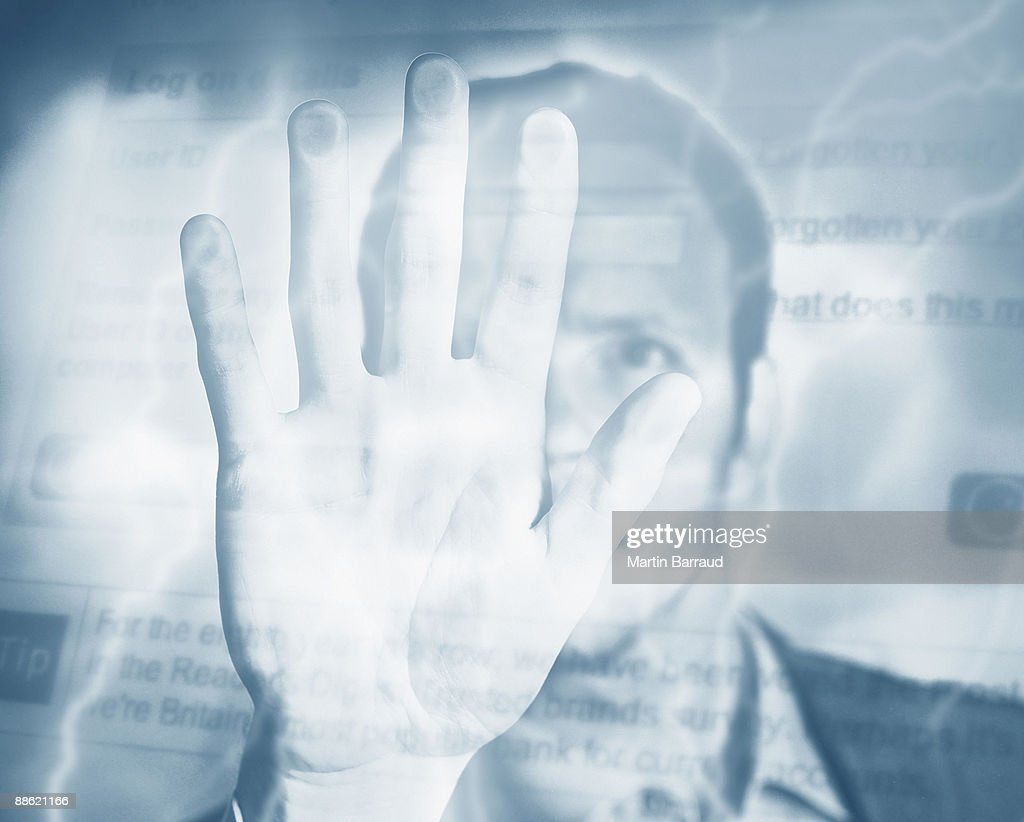 Montage of man, palm, electricity and computer screen : Stock Photo