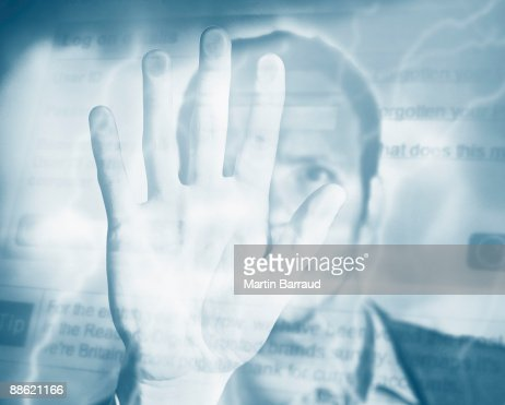 Montage of man, palm, electricity and computer screen : Stockfoto