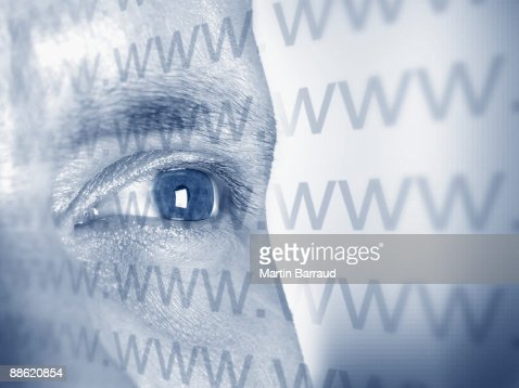 Montage of mans face and www text : Stock Photo