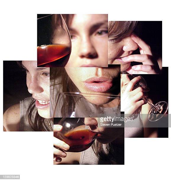 Montage of woman drinking wine