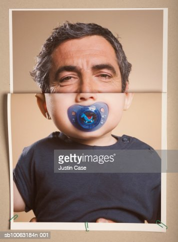 Montage picture of baby boy (5 months) with pacifier and portrait of mature man : Foto stock