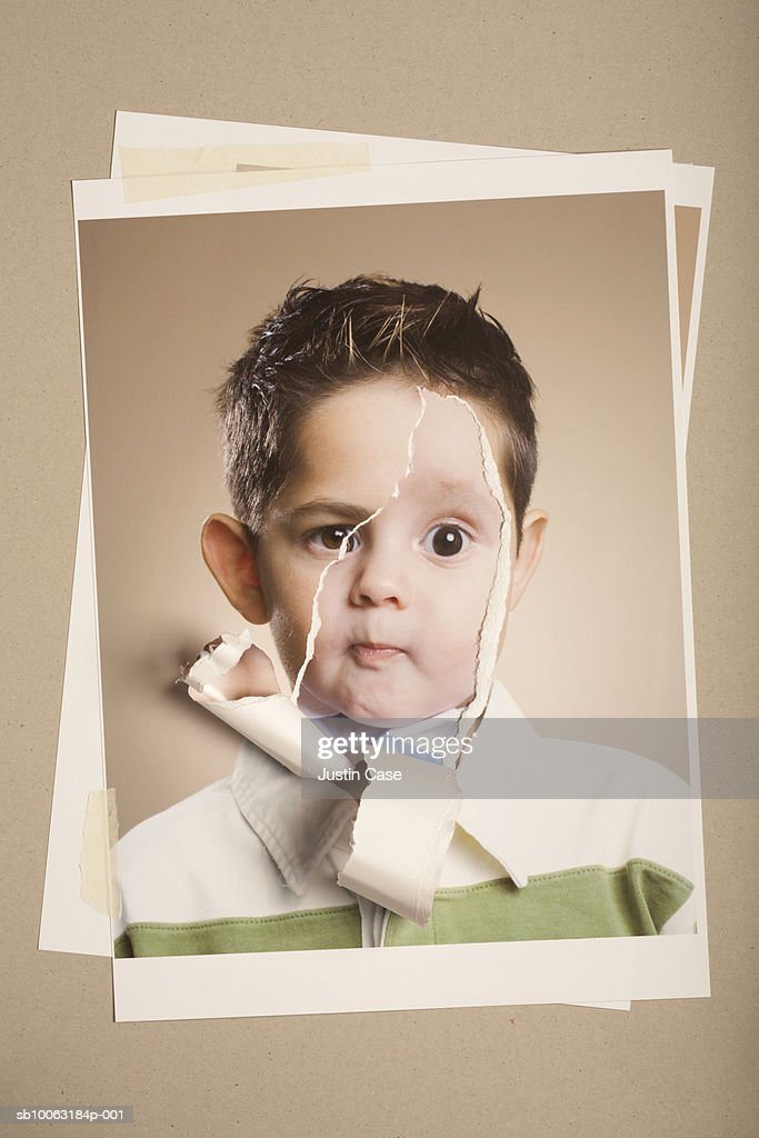 Montage picture of photographs of young boy (9 years) and baby boy (5 months) : Stock Photo