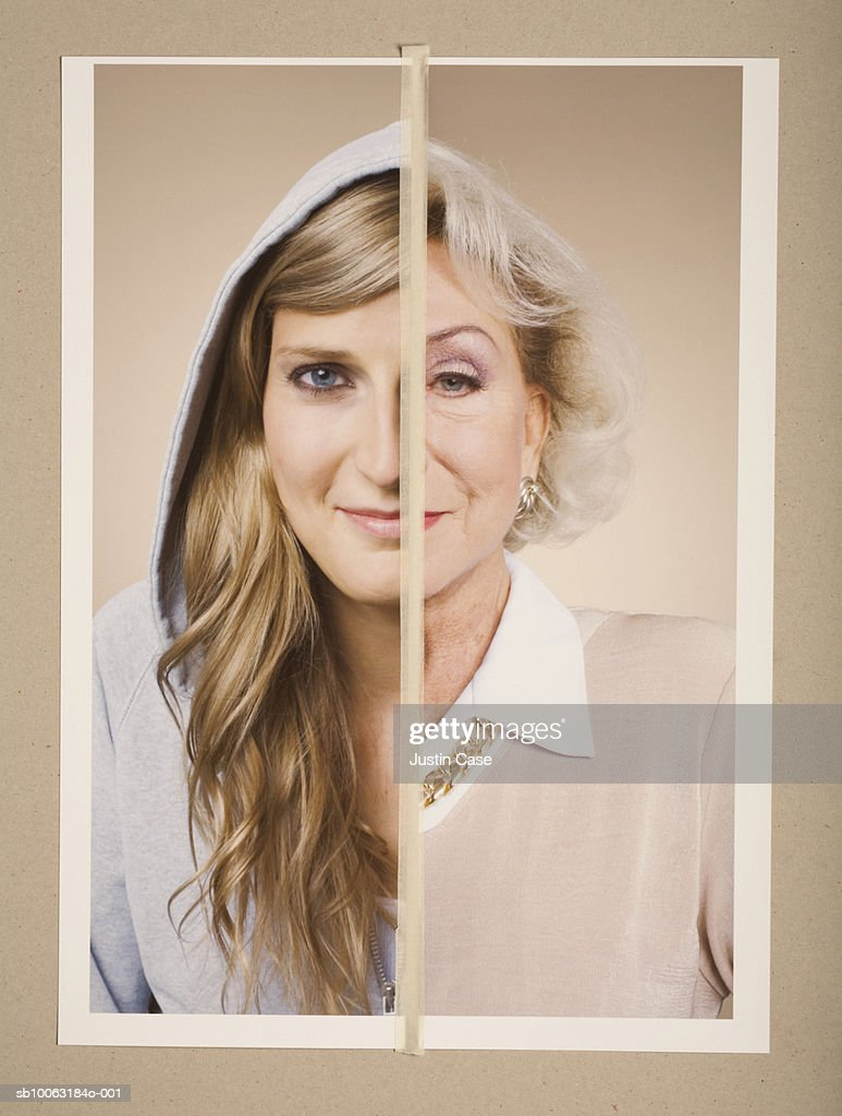 Montage picture of portraits of young and senior woman : Stock Photo