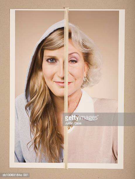 Montage picture of portraits of young and senior woman