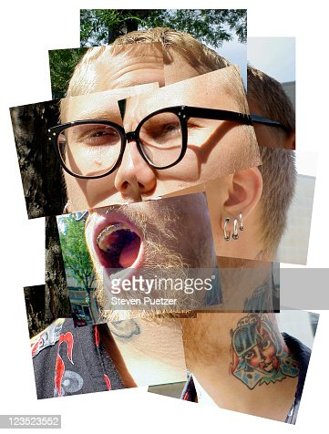 Montage portrait of a man w/ a tattoo on his neck : ストックフォト