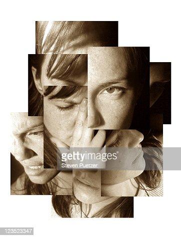 Montage portrait of a woman : Stock Photo