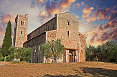 Montalcino, Tuscany, Italy: Abbey of Sant'Antimo, the medieval catholic church in the province of Siena is a former Benedictine monastery. It is one of the most important architectures of the Tuscan R