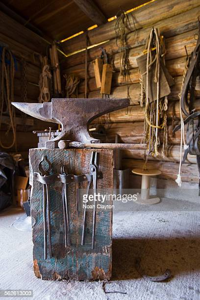 USA, Montana, Anvil in blacksmith shop