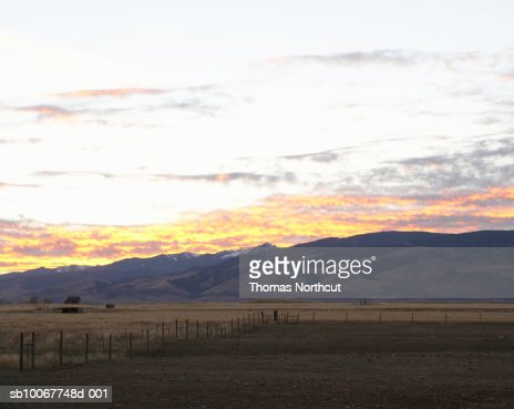 USA, Montana, Bozeman, rural landscape at sunset