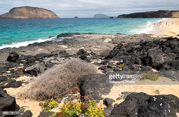 Montana Clara island nature reserve and sandy beach Playa de las Conchas Graciosa island Lanzarote Canary Islands Spain