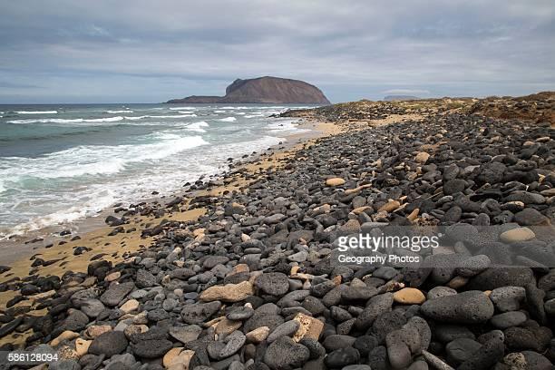 Montana Clara island nature reserve from Graciosa island Lanzarote Canary Islands Spain